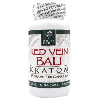 Whole Herbs Kratom Capsules Bottle Red Vein Bali 30 Grams 60ct