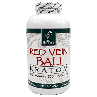 Whole Herbs Kratom Capsules Bottle Red Vein Bali 250 Grams 500ct
