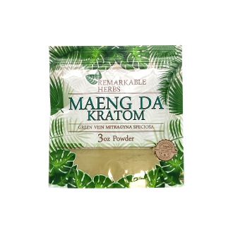 Remarkable Herbs Kratom Powder Bag Green Vein Maeng Da 3oz